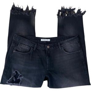 Zara Basic Z1975 Denim Distressed Fringe Hem Jeans